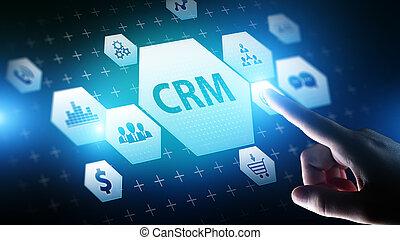 zákazník, software., management, business vztah, concept., -, systém, automatizace, technika, crm