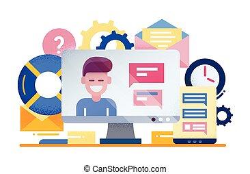 zákazník unést, -, byt, design, ilustrace