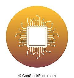 základní jednotka, mikroprocesor, illustration., neposkvrněný, ikona, do, kruh, s, golde