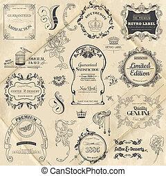 základy, výzdoba, konstrukce, vybírání, calligraphic, vektor, design, vinobraní, květiny, stránka, set: