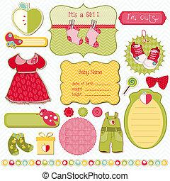 základy, vydat, -, design, klidný, děťátko, kniha k nalepování výstřižků