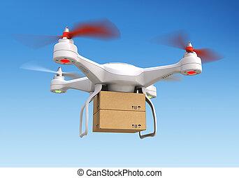 zángano, quadrocopter, entregar, paquete