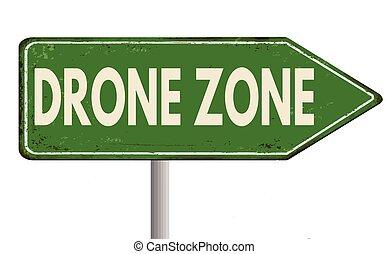zángano, zona, vendimia, metal oxidado, señal
