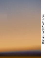 západ slunce, a, mlhavý, obzor