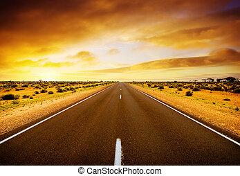 západ slunce, cesta