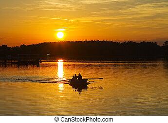 západ slunce, dále, ta, jezero, člun