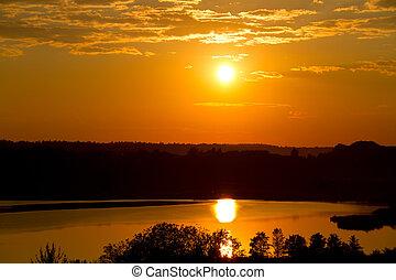 západ slunce, dále, ta, jezero