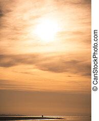 západ slunce, dvojice, pláž, silueta