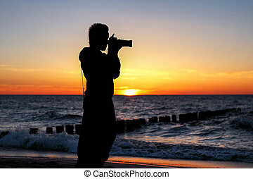 západ slunce, fotograf