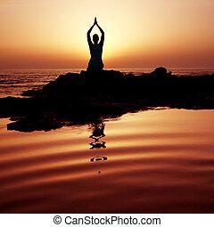 západ slunce, jóga