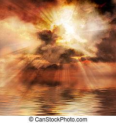 západ slunce, nápadný, grafické pozadí