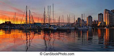 západ slunce, názor, od, charleson, sad, do, vancouver, bc