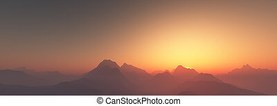 západ slunce, nad, hory