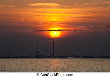 západ slunce, nad, jeden, břeh