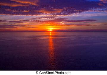 západ slunce, nad, středozemský, východ slunce, moře