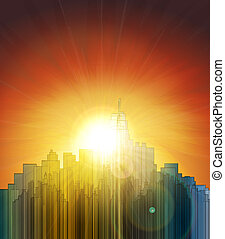 západ slunce, nad, ta, big, city., abstraktní, grafické pozadí., design, jeden, poster.