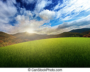 západ slunce, nad, ta, hory