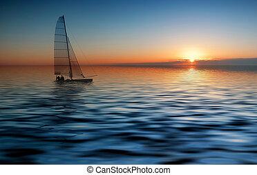 západ slunce, plavení