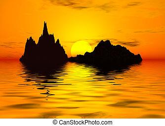 západ slunce, scenics