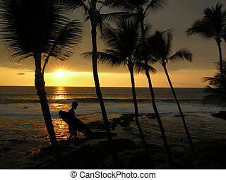 západ slunce, surfer
