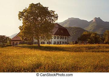 západ slunce, ubytovat se, farma, hory