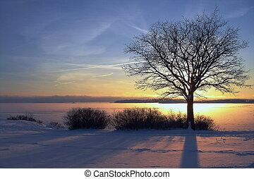 západ slunce, zima