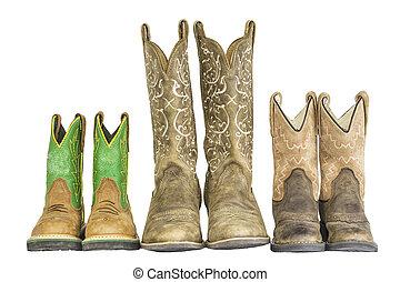 západní, pářit se, tři, sluha, kovboj
