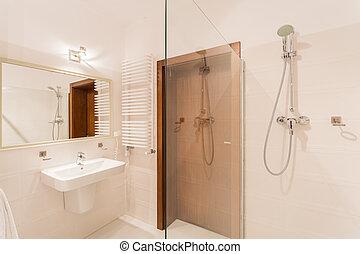 zápor, fürdőszoba, modern