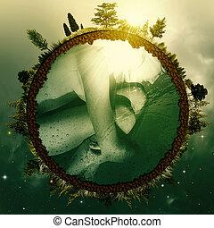 zárodek, earth., abstraktní, ekologický, grafické pozadí, jako, tvůj, design