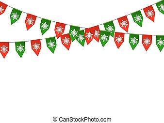 zászlódísz, elszigetelt, háttér., lobogó, white christmas