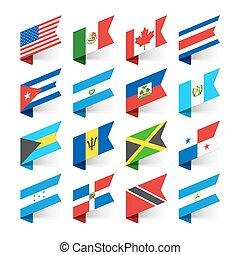 zászlók, amerika, észak, világ