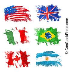 zászlók, -, amerika, anglia, olaszország, brazília, kanada,...