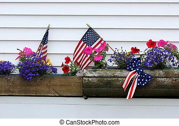 zászlók, amerikai, dobozok, ablak