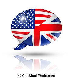 zászlók, beszéd, uk, usa, buborék