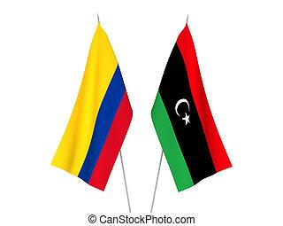 zászlók, colombia, líbia