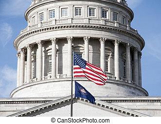 zászlók, előtt, utah helyzet capitol