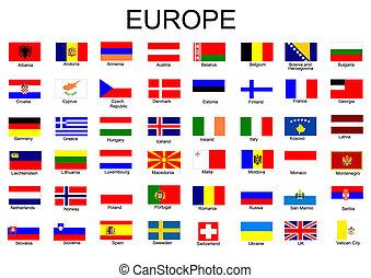 zászlók, európai, lista, ország, minden