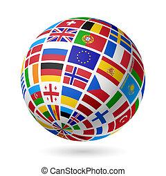 zászlók, globe., europe.