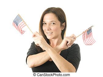 zászlók, hullámzás, hazafias, nő, boldog, amerikai