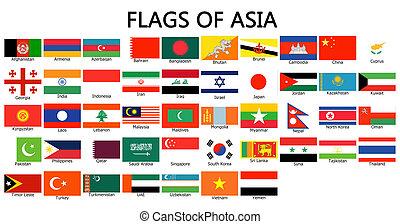 zászlók, közül, ázsia