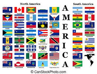 zászlók, közül, észak, és, dél-amerika