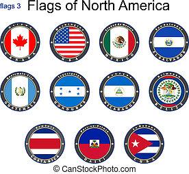zászlók, közül, észak, america., zászlók, 3.