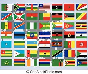 zászlók, közül, africa-, befejez, állhatatos, közül, zászlók, alatt, eredeti, befest, felett, white háttér