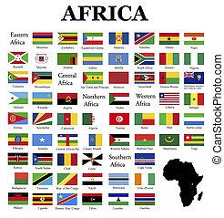 zászlók, közül, afrika
