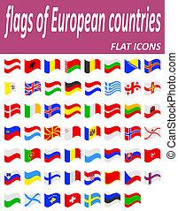 zászlók, közül, európai, országok, flaticons, ábra