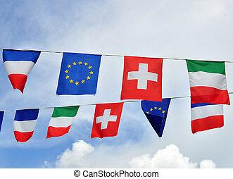 zászlók, közül, európai, országok