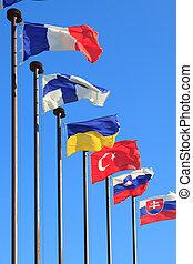 zászlók, közül, különböző, országok