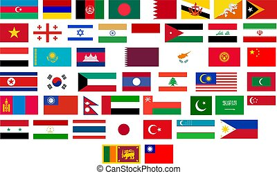zászlók, közül, minden, ázsiai, országok