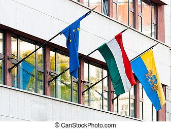 zászlók, közül, néhány, országok, képben látható, egy, irodaépület