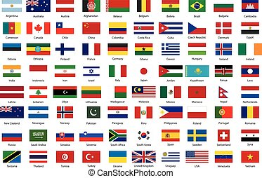 zászlók, közül, világ, független, egyesült államok